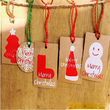 50pcs Christmas DIY Kraft Brown Gift Paper Label Price Hang Tags Cards WeddingHU