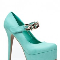 Faux Leather Teal Almond Toe Gold Chain Pumps @ Cicihot Heel Shoes online store sales:Stiletto Heel Shoes,High Heel Pumps,Womens High Heel Shoes,Prom Shoes,Summer Shoes,Spring Shoes,Spool Heel,Womens Dress Shoes