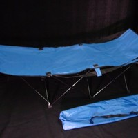 Portable Folding Camping Cot Blue W. Bag - Camp Bed, Compact, Travel Bed, Beach