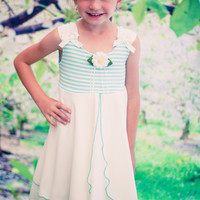 Mint Green Striped Stretch Knit & Two Tier Ivory Chiffon Sundress (Girls 2T - Size 12)