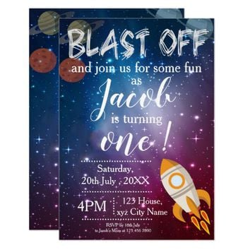 Galaxy Themed | 1st Birthday Party Invitation