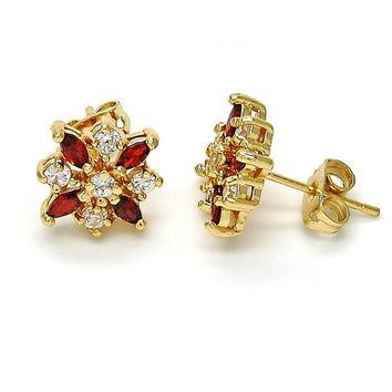 Gold Layered 02.210.0050.4 Long Earring, Flower Design, with White and Garnet Cubic Zirconia, Polished Finish, Gold Tone