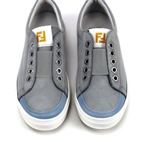 Boys Grey Suede Leather Laceless Sneakers