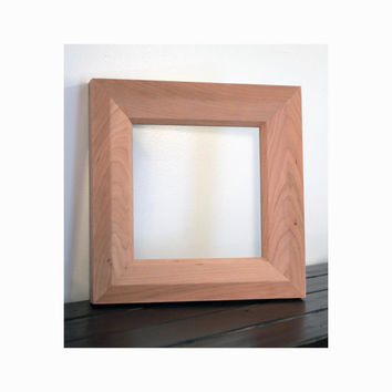 Unfinished Cherry Double Bevel Picture Mirror Frame, Picture Frame