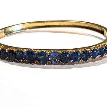 Victorian Sapphire Bracelet, 14k Gold Hinged Bangle, Prong Set Oval Sapphire Gemstones, Graduated Sizes, 1800's, Antique Victorian Bracelet
