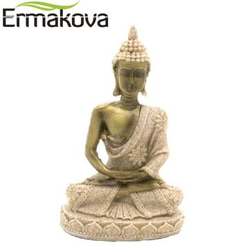 ERMAKOVA 10cm Tall Mini Thailand Sandstone Buddha Statue Fengshui Luck Hindu Sculpture Meditation Buddha Figurine Home Decor