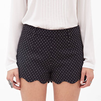 Black Polka Dot Scallop Hem Shorts