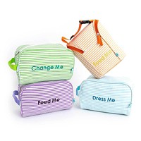 Easy Baby Travelers Seersucker Style Diaper Bag Organizer Pouches Starter Set of 4