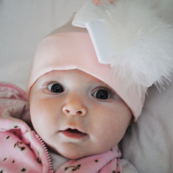 Baby Girl Feather Accented Pink Hat