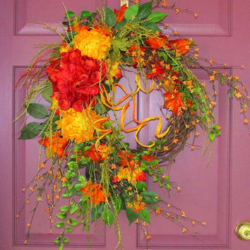 Fall wreath, Autumn wreath, fall door wreaths, grapevine wreath, thanksgiving decor, hydrangea wreath, fall decorations, elegant wreath