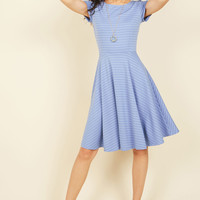Playlist Professional A-Line Dress in Striped Blue | Mod Retro Vintage Dresses | ModCloth.com