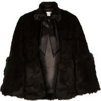 River Island Womens Black faux fur tied cape