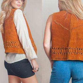 1970s Genuine Leather Brown Suede Vest | Antique Tan Suede Woven Western Vest | 60s 70s Southwestern Cowboy Boho Hippie Unisex Leather Vest