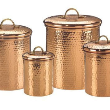 Beautiful! Old Dutch Set 4 Copper Hammered Canisters Set