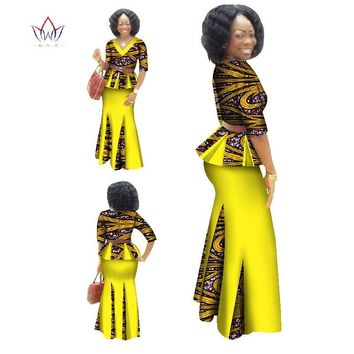 Traditional African 2 Piece Set Half Sleeve Maxi Dress with Head Scarf M-6XL