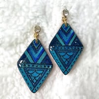 DOUBLE BLUE GEOMETRIC EARRING DIAMOND SHAPE
