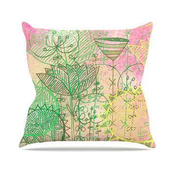 "Marianna Tankelevich ""Pink Dream"" Pink Green Outdoor Throw Pillow"