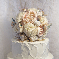 Petal Pink Sola Flowers, Burlap & Lace Wedding Cake Topper with matching Flower Picks. Rustic and Elegant. Ready to Ship!