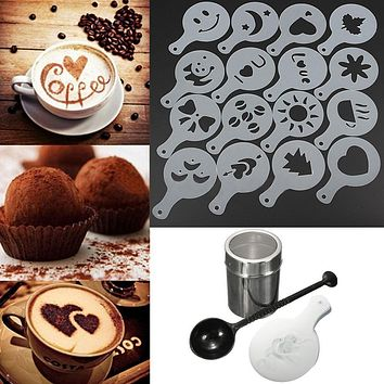 Stainless Steel Chocolate Sugar 16pcs Cappuccino Coffee Shaker Cocoa Powder Cinnamon Dusting Tank Kitchen Filter Cooking Tool