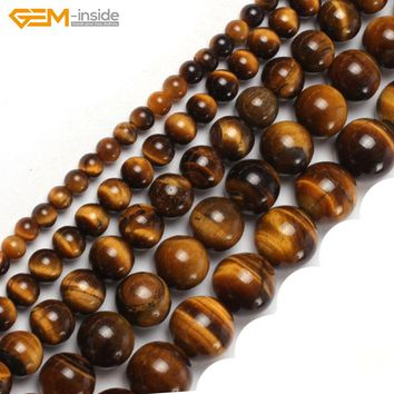 Gem-insid 2-18mm Natural Stone Beads Round Yellow Tiger Eye Beads For Jewelry Making Beads 15'' DIY Beads Jewellery