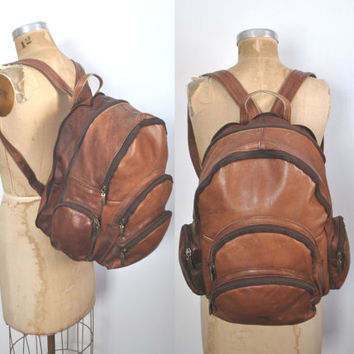 Brown Leather Bookbag Backpack / distressed / unisex