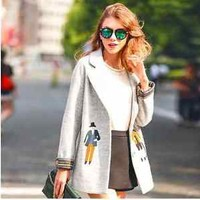 Fashion Europe Boutiques Embroidery Winter Womens Jacket Coat Clothes for Sale