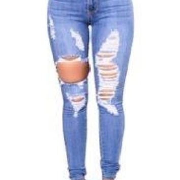 Stretch Slim Boyfriend Hollow Out Ripped Jeans
