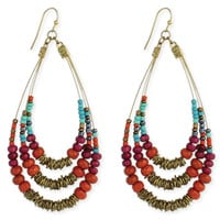 Multi Beaded Teardrop Wire Earrings
