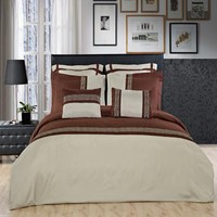 Astrid Embroidered Sage and Chocolate Multi Piece Comforter Set