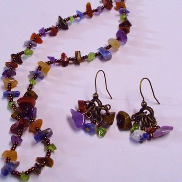 Natural Semiprecious Gemstone Chip Necklace and Earring Set