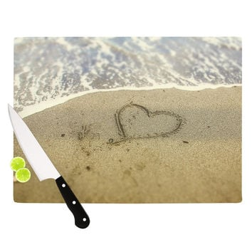 "Debbra Obertanec ""Beach Heart"" Sand Coastal Cutting Board"