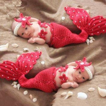 Baby fotografie Props Newborn Girl Crochet Beach Mermaid Photography Props Tiny Baby Girl Photo Shoot Cartoon Outfits Clothes