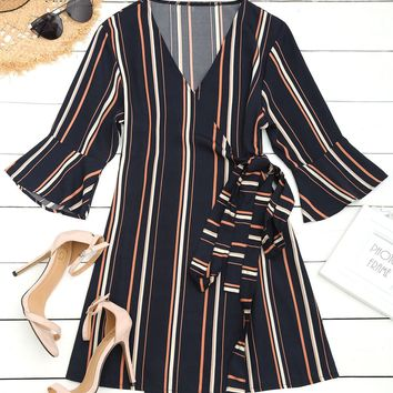 Zana Wrap Striped Mini Dress