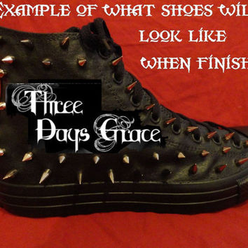 THREE DAYS GRACE Heavy Metal Hard Rock Custom Studded Converse Chuck Taylor All Star Shoes with spikes not shirt Men's Women's Kids