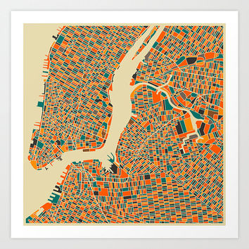 NEW YORK City MAP Giclee Fine Art Poster Print, Modern Abstract Wall Art for the Home Decor