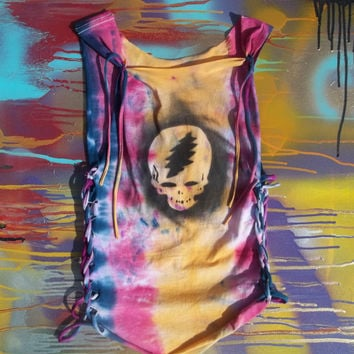 Tropical Burst Tie Dye Grateful Dead Steal Your Face Braided Tank Top