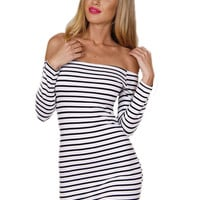 Striped Off-Shoulder Long Sleeve Mini Dress