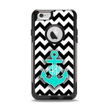 The Teal Green Monogram Anchor on Black & White Chevron Apple iPhone 6 Otterbox Commuter Case Skin Set