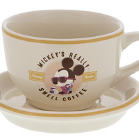 Disney Parks Mickey Really Swell Coffee Espresso Cup & Saucer Set New