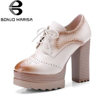 BONJOMARISA Women's Platform High Heels Pumps Lace Up Hollow Shoes