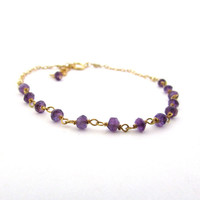 Purple amethyst bracelet, gold amethyst jewelry, purple gemstone jewelry, February birthstone jewelry, 6 inch adjustable bracelet