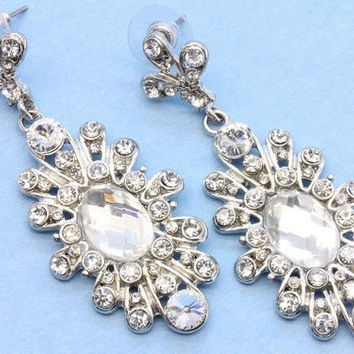 Bridal Wedding Crystal Earrings Victorian Inspired On Silver Tone