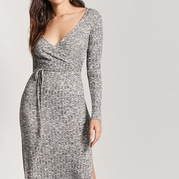 Marled Knit Surplice Dress