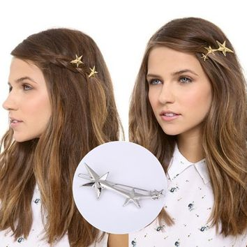 T56 Fashion Wedding Jewelry Gold Color Sea Star Hair Clip Cute Starfish Hairpin For Baby Girls Exquisite Barrette Birthday Gift