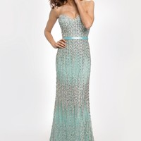 Blue Fitted Strapless Gown 91348 - Prom Dresses