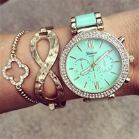 Mint Gold Bling Watch