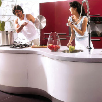 Curved white and red lacquer kitchen cabinet