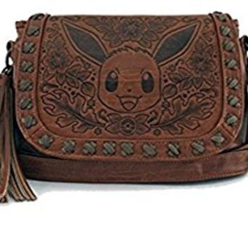 Loungefly Pokemon Eevee Character Brown Embossed Crossbody Bag