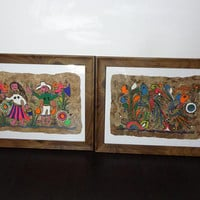 Vintage Framed Mexican Folk Art Amate Paintings on Bark Paper - Colorful Birds, Flowers, and Villagers Folk Art Paintings - Set of 2