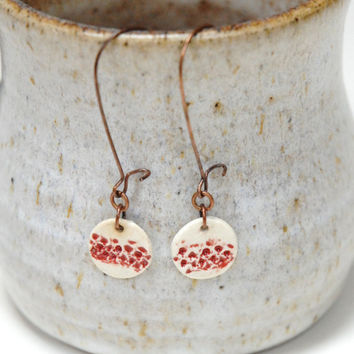 Red pottery earrings,copper clay earrings,stoneware earrings,ceramic earrings,clay bead earrings,red dangle earings,red drop earrings,